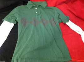 GAP Kids Layered Long Sleeve Polo Green w Argyle and White Sleeves size Large L image 4