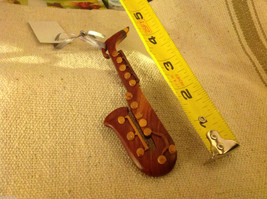 Hand carved multi colored grained wood saxophone ornament double sided image 5