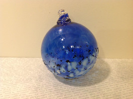 Handblown Recycled Glass Christmas Tree Ball Ornament Deep Blue White image 2