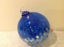 Handblown Recycled Glass Christmas Tree Ball Ornament Deep Blue White image 5