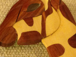 Hand carved multi colored grained wood giraffe ornament double sided image 2