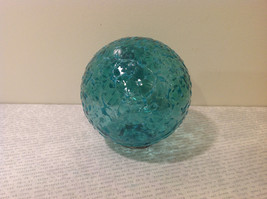 Handblown Recycled Glass Christmas Tree Ball Ornament Light Blue Green image 3