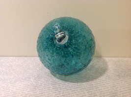 Handblown Recycled Glass Christmas Tree Ball Ornament Light Blue Green image 6