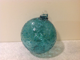 Handblown Recycled Glass Christmas Tree Ball Ornament Light Blue Green image 5