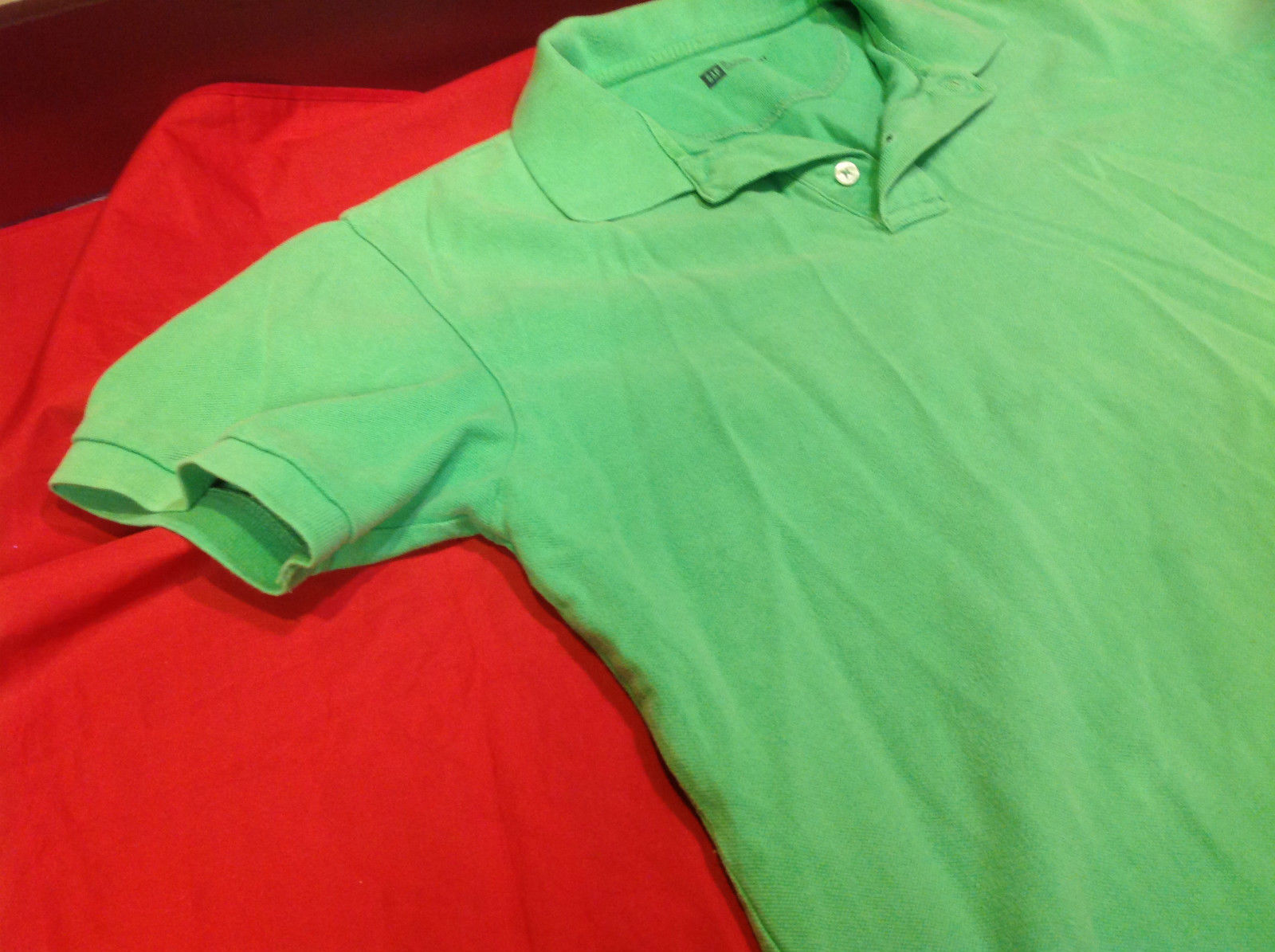 Gap Green/Lime Classic Fit Mens Short Sleeve Polo Shirt Size Medium image 3
