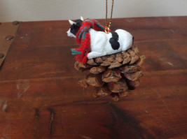 Handmade Pine Cone Pet Cow with Scarf Ornament Real Pine Cone image 5