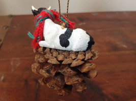 Handmade Pine Cone Pet Cow with Scarf Ornament Real Pine Cone image 4