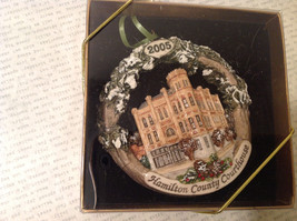 Handpainted Christmas Ornament Hamilton Country Courthouse 2005 Original Package image 2
