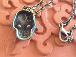 Handpainted Day of Dead Sugar Skull small pendant necklace Gleeful Peacock image 7
