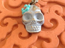 Handpainted Day of Dead Sugar Skull small pendant necklace Gleeful Peacock image 10