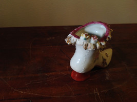Gilded Ceramic Boot with Bow Tie and Flowers Red Brown Green image 3