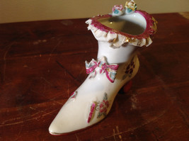 Gilded Ceramic Boot with Bow Tie and Flowers Red Brown Green image 6