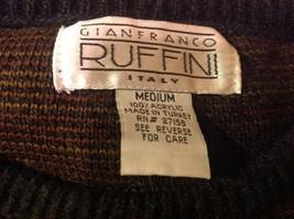 Gianfranco Ruffini Italy Dark Sweater Size Medium Checkered Pattern Multicolor image 7