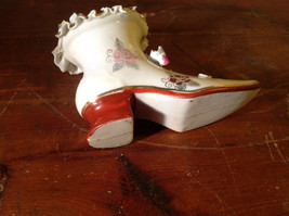Gilded Ceramic Boot with Bow Tie and Flowers Red Brown Green image 8