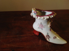 Gilded Ceramic Boot with Bow Tie and Flowers Red Brown Green image 4