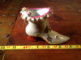 Gilded Ceramic Boot with Bow Tie and Flowers Red Brown Green image 9