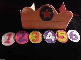 Girl's Birthday Hat flannels reusable pink felt crown with numbers 1 through 6 image 3