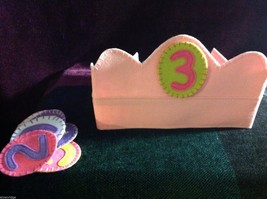 Girl's Birthday Hat flannels reusable pink felt crown with numbers 1 through 6 image 2