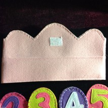 Girl's Birthday Hat flannels reusable pink felt crown with numbers 1 through 6 image 5
