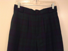 Giorgio Sant Angelo Pure Wool Size 10 Navy Blue Dark Green Plaid Lined Pants image 3