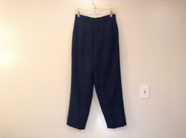 Giorgio Sant Angelo Pure Wool Size 10 Navy Blue Dark Green Plaid Lined Pants image 2