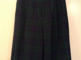 Giorgio Sant Angelo Pure Wool Size 10 Navy Blue Dark Green Plaid Lined Pants image 4