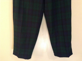 Giorgio Sant Angelo Pure Wool Size 10 Navy Blue Dark Green Plaid Lined Pants image 5