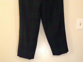 Giorgio Sant Angelo Pure Wool Size 10 Navy Blue Dark Green Plaid Lined Pants image 7