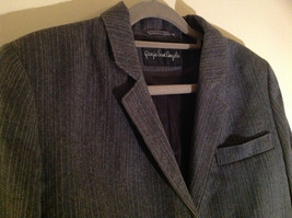 Giorgio Saint Angelo Gray Pinstriped Pant Suit 1 Button on Jacket Size 10 image 3