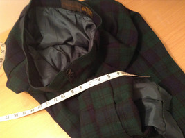 Giorgio Sant Angelo Pure Wool Size 10 Navy Blue Dark Green Plaid Lined Pants image 9