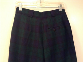 Giorgio Sant Angelo Pure Wool Size 10 Navy Blue Dark Green Plaid Lined Pants image 6