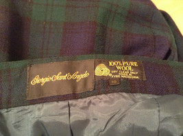 Giorgio Sant Angelo Pure Wool Size 10 Navy Blue Dark Green Plaid Lined Pants image 8