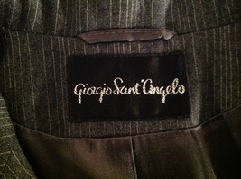 Giorgio Saint Angelo Gray Pinstriped Pant Suit 1 Button on Jacket Size 10 image 10