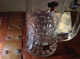 Glass Beer Stein with Metal Lid Made In Germany 9 Inches Tall image 2