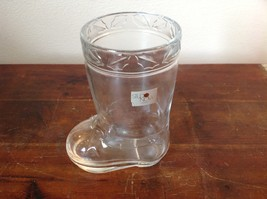 Glass Drinking Boot Cup Glass Leaf Relief 5 Inches High image 2