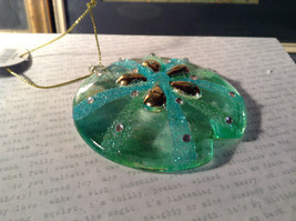 Glass Sand Dollar Blue Green Ornament by Holiday Tree Decoration image 2