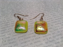 Glass Shiny Metallic Square Earrings Yellow with Multicolored Enamel Mixed Metal image 2