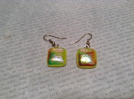 Glass Shiny Metallic Square Earrings Yellow with Multicolored Enamel Mixed Metal image 3