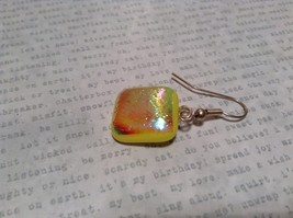 Glass Shiny Metallic Square Earrings Yellow with Multicolored Enamel Mixed Metal image 4