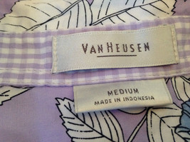 Hawaiian Style Button Down Shirt by Van Heusen Purple Two Front Pockets Size M image 6