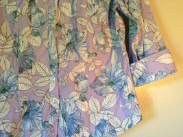 Hawaiian Style Button Down Shirt by Van Heusen Purple Two Front Pockets Size M image 3