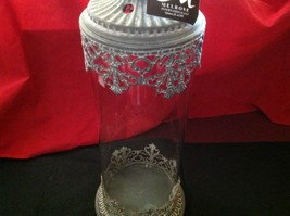 Glass domed candle holder w filigree and glass metal finial image 6
