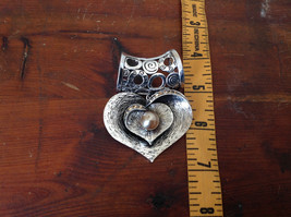 Heart Shaped Silver Tone Scarf Pendant with Tan Beads and Crystals Magic Scarf image 4