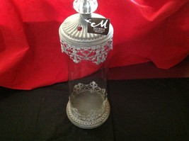Glass domed candle holder w filigree and glass metal finial image 5