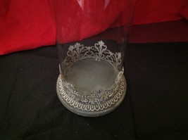 Glass domed candle holder w filigree and glass metal finial image 7