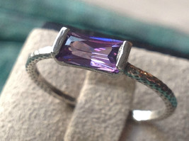 Glittering Emerald Light Catching CZ Synthetic Amethyst Ring Size Choice 7 or 8 image 4