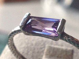 Glittering Emerald Light Catching CZ Synthetic Amethyst Ring Size Choice 7 or 8 image 5