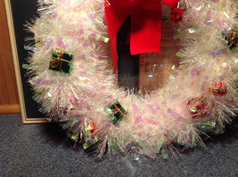 Glittery White Ribboned Holiday Wreath with Mini Presents and Red Ribbon image 3
