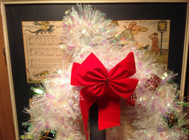 Glittery White Ribboned Holiday Wreath with Mini Presents and Red Ribbon image 2