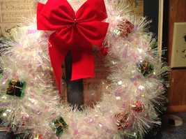 Glittery White Ribboned Holiday Wreath with Mini Presents and Red Ribbon image 4